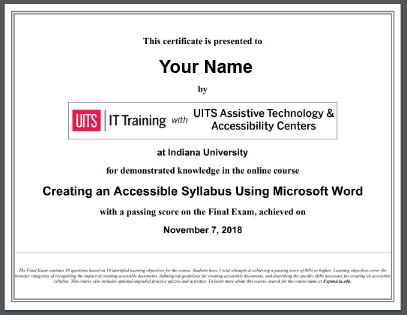 Course certificate example as thumbnail