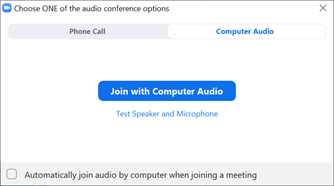 The audio options dialog box for Zoom