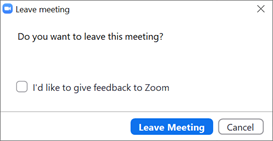 Screenshot of the Leave Meeting dialog box.