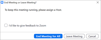Screenshot of the End Meeting or Leave Meeting dialog box.