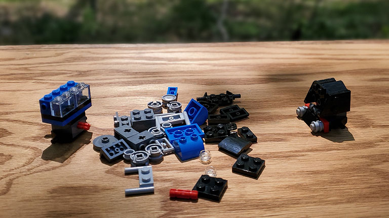 Partially assembled Lego project. You can start to see some of the shapes form from nothing.