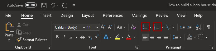 The ribbon from Microsoft Word with the Unordered and Ordered list buttons marked.