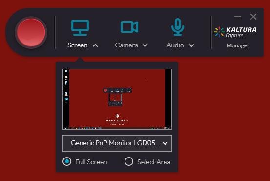Screenshot of the Kaltura Capture interface, displaying options for recording your screen, camera, and audio. A preview of the user's screen is displayed underneath the Screen option.