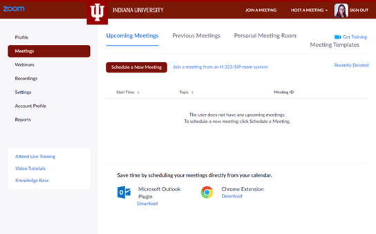 A screenshot of the Zoom website, showing the Meetings view.